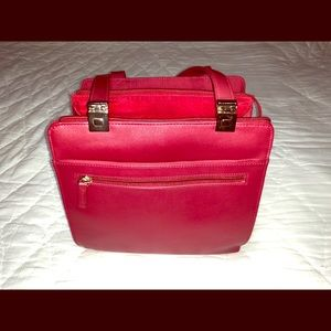 Liz Claiborne Red PVC Leather Tote Bag